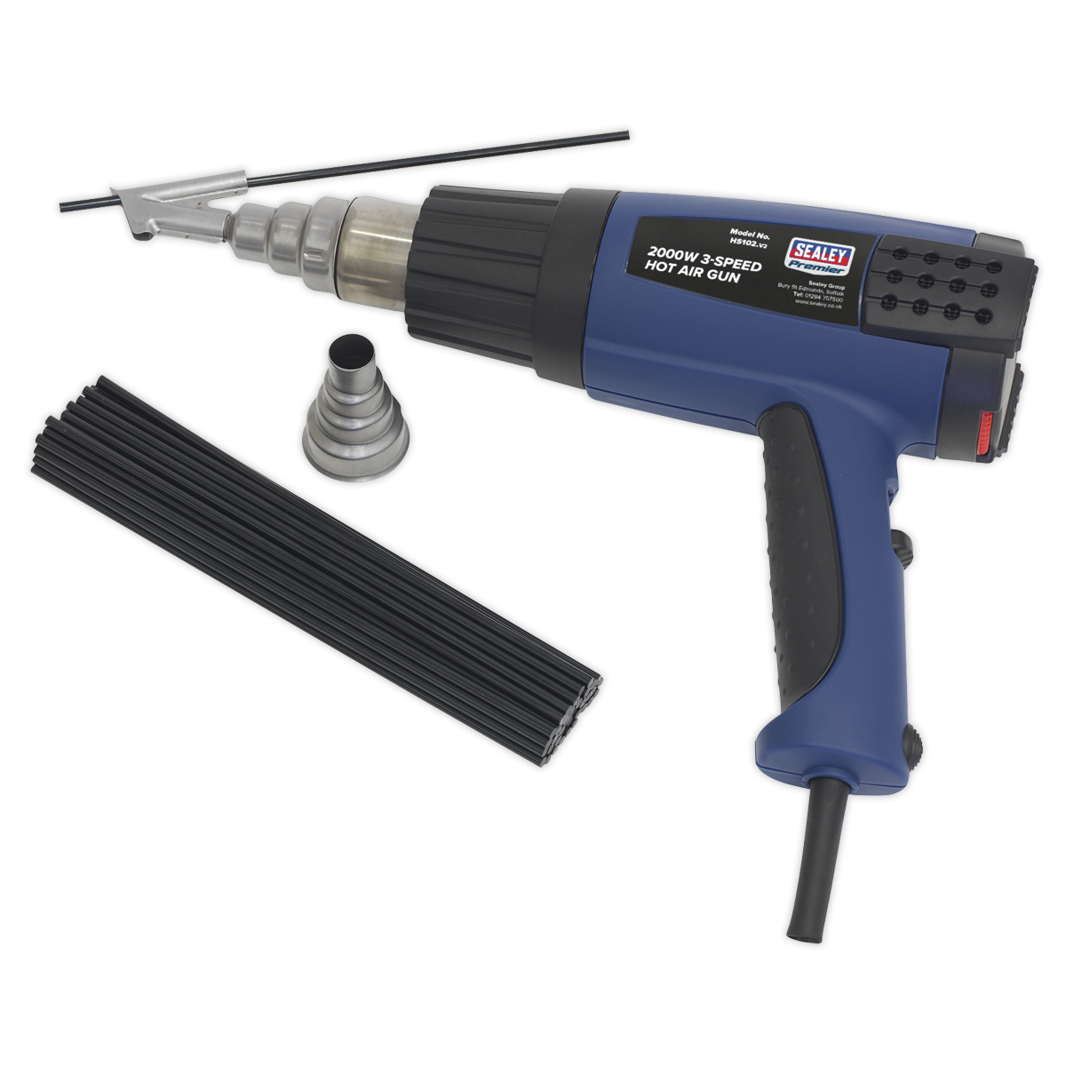 Sealey Plastic Welding Kit including HS102 Hot Air Gun