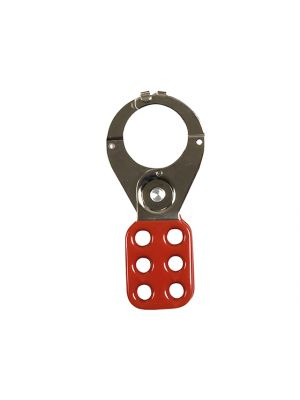 802 Lock Out Hasp 38mm Red with Safety Clamp