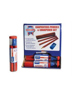 Carpenters Pencils Red (12 x Tubes of 12 + Sharpener)