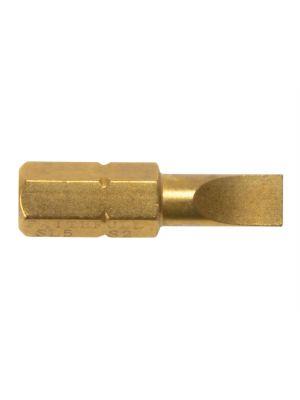 Slotted 6mm Titanium Coated Screwdriver Bits 25mm Pack 3