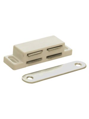 Magnetic Catch - White Plastic Pack of 2