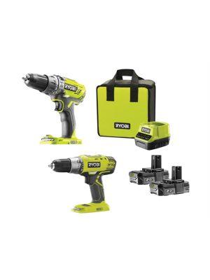ONE+ Combi/Drill Driver Twin Pack 18V 2 x 2.0Ah Li-ion