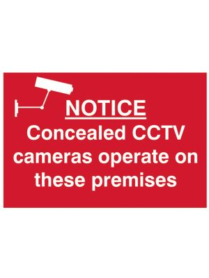 Notice Concealed CCTV Cameras Operate On These Premises - PVC 300 x 200mm
