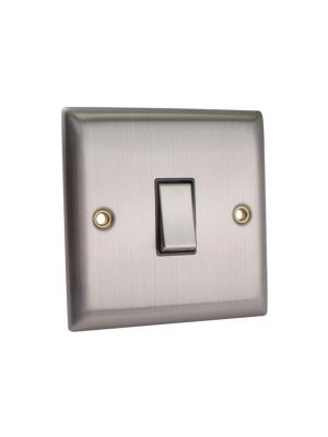 2-Way Light Switch 1-Gang Brushed Steel