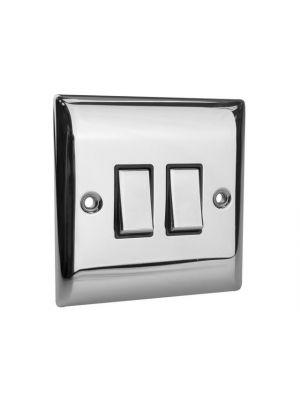 2-Way Light Switch 2-Gang Chrome