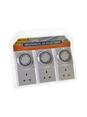 Basix 24h Mechanical Plug In Timer 3 Pack