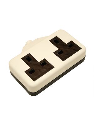 White Trailing Extension Socket 13A 2 Gang