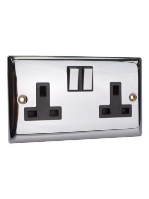 Switched Socket 2-Gang 13A Chrome