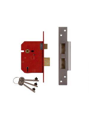2234E 5 Lever BS Mortice Sashlock Plated Brass Finish 67mm 2.5 in Visi