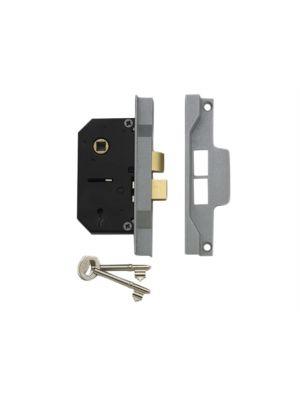 2242 2 Lever Mortice Rebated Sashlock Silver Enamel 65.5mm 2.5in Visi