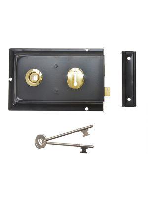 P334 Rim Lock Black Finish 156 x 104mm Visi