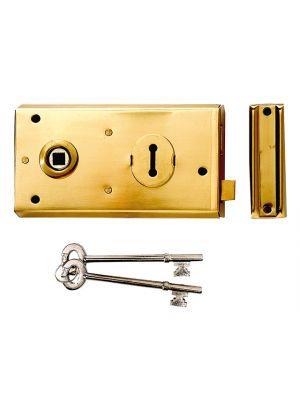 P401 Rim Lock Polished Brass Finish 138 x 76mm Visi