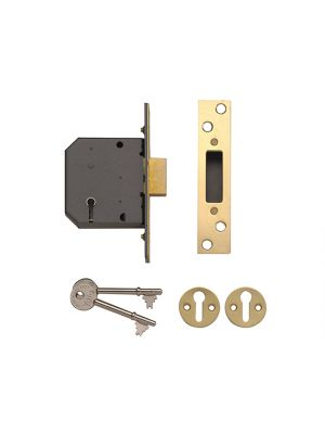 PM552 5 Lever Mortice Deadlock 67mm 2.5in Polished Brass