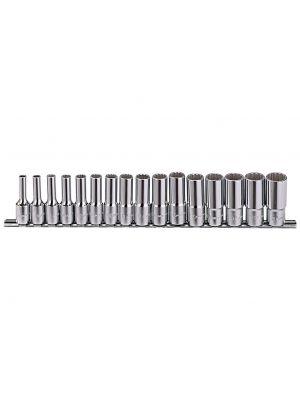 Genius 3/8in. Drive 16 Piece Deep Socket Set 12 Point Bi-hex Metric 6 - 21mm.