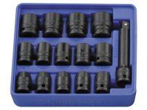 Genius 1/2in. Drive 15 Piece Standard Impact Socket Set 6pt Metric 10 - 24mm