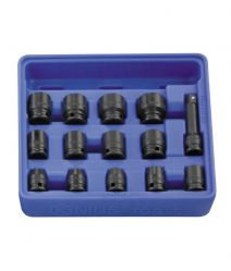 Genius 3/8in. Drive 14 Piece Standard Impact Socket Set 6pt Metric 8 - 21mm