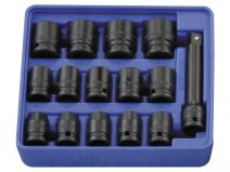 Genius 1/2in. Drive 15 Piece Standard Impact Socket Set 6pt Metric 10 - 24mm