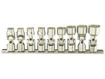 Genius 1/4in. Drive 9 Piece Universal Joint Socket Set Metric 6 - 14mm.
