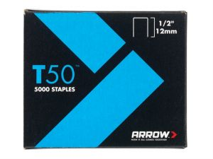 T50 Staples 12mm (1/2in) Pack 5000 (4 x 1250)