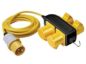 Extension Cable With 4-Way Powerblock 14 Metre 16 Amp Cable 110 Volt