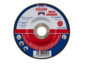 Depressed Centre Metal Grinding Disc 100 x 5 x 16mm