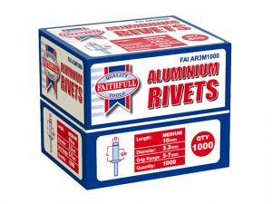 Aluminium Rivets 3.2mm x 10mm Medium Bulk Pack of 1000