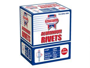 Aluminium Rivets 4mm x 13mm Long Bulk Pack of 1000
