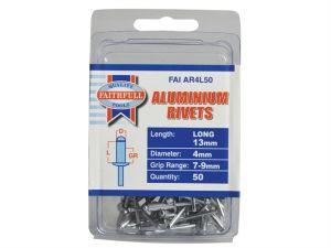 Aluminium Rivets 4mm x 13mm Long Pre-Pack of 50