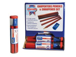 Carpenters Pencils Red (12 x Tubes of 12 + Sharpener)