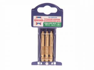 Phillips 2 Titanium Coated Screwdriver Bits x 50mm Pack of 3