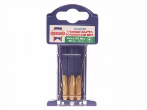 Phillips 3 Titanium Coated Screwdriver Bits x 25mm Pack of 3