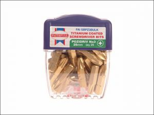 Pozi 3 Titanium Coated Screwdriver Bits 25mm Pack of 25