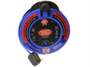 Fast Rewind 4 Socket Cable Reel 10 Metre 3120 Watt 13 Amp