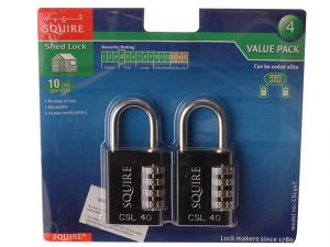 Toughlock Re-Codeable Black Combination Padlock 40mm (Pack of 2)