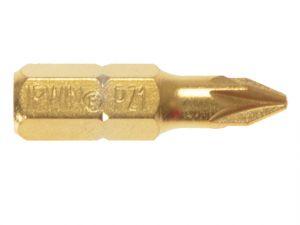 Screwdriver Bits Pozi PZ1 25mm Titanium Pack of 10