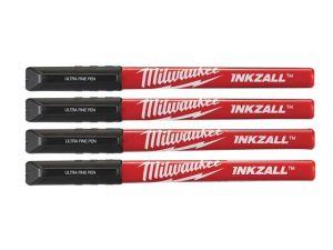 INKZALL™ Ultra Fine Tip Pens Black (Pack 4)