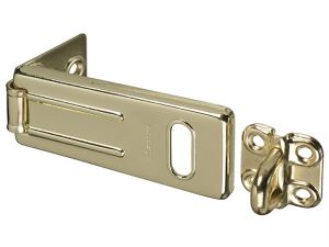 Wrought Steel Hasp Brass Finish 89mm