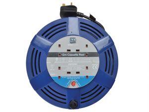 Cassette Cable Reel 12 Metre 4 Socket Thermal Cut-Out Blue 13A 240 Volt