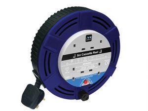 Cassette Cable Reel 8 Metre 4 Socket Thermal Cut-Out Blue 13A 240 Volt