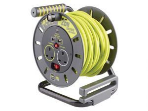 PRO-XT Open Cable Reel 25m 13A 2 Socket & 2 USB