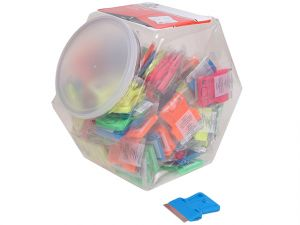 Neon Plastic Mini Scraper Jar of 100 Single Blades