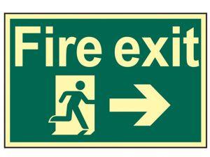 Fire Exit Running Man Arrow Right - Photoluminescent 300 x 200mm