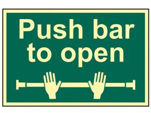 Push Bar To Open - Photoluminescent 300 x 200mm