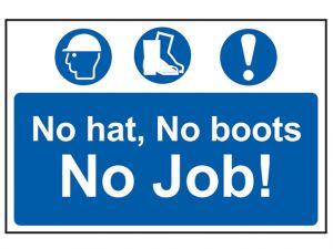 No Hat No Boots No Job - PVC 600 x 400mm