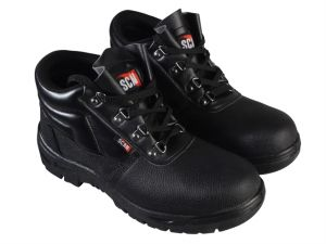 4 D-Ring Chukka Black Safety Boots UK 10 Euro 44