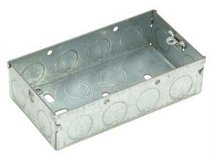 Metal Back Box 2 Gang 25mm Depth - Carded