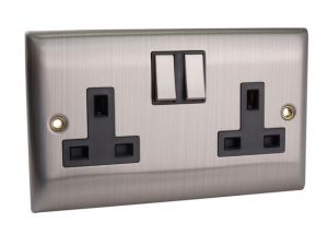 Switched Socket 2-Gang 13A Brushed Steel
