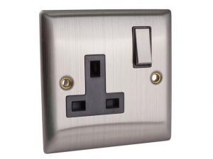 Switched Socket 1-Gang 13A Brushed Steel