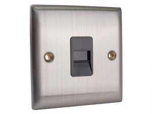 Master Telephone Outlet Brushed Steel