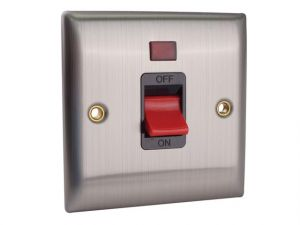 DP Neon Switch 45A Brushed Steel